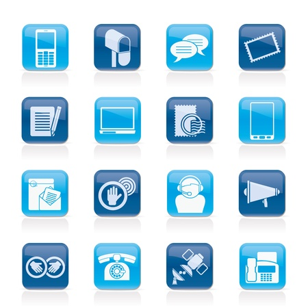 fax: Contact and communication icons - vector icon set