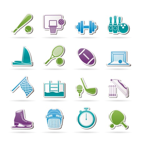 sports helmet: Sport objects icons - vector icon set Illustration