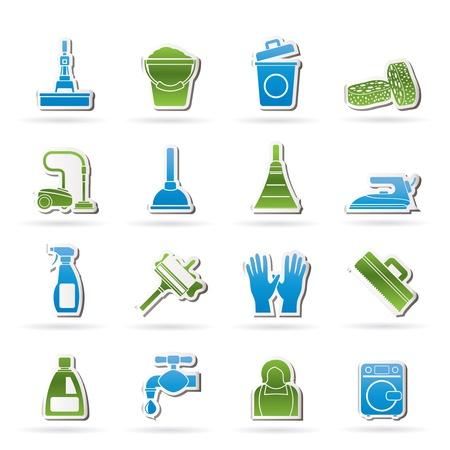 afvalbak: Reiniging en hygiëne pictogrammen - vector icon set Stock Illustratie