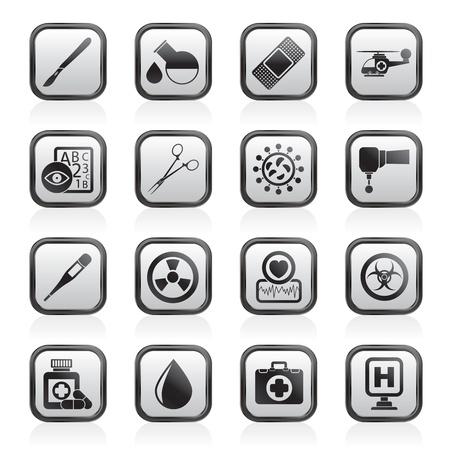 spital ger�te: Medizin und Krankenhaus-Ausr�stung icons - vector icon set