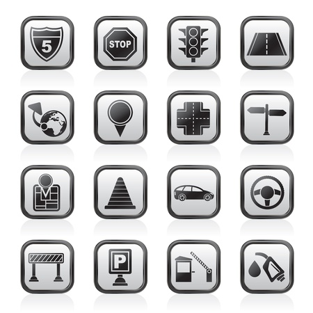 traffic cone: Traffic, road and travel icons - vector icon set