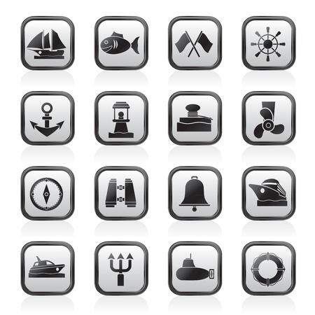 harbour: Marine, il mare e le icone nautiche - vector icon set