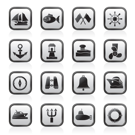 sea port: Marine, sea and nautical icons - vector icon set