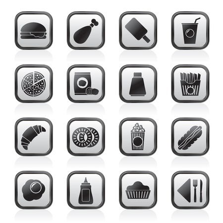 fast food and drink icons - vector icon set Stock Vector - 15496368
