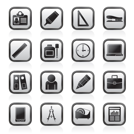 corrector: Business and office objects icons - vector icon set Illustration