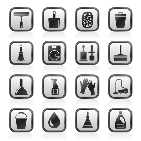mop: Cleaning and hygiene icons - vector icon set