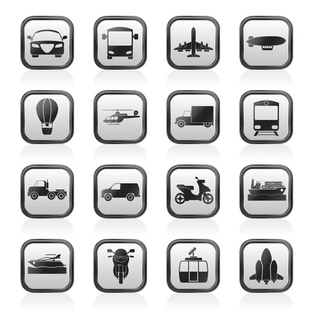 container cargo ship: Transportation and travel icons - vector icon set
