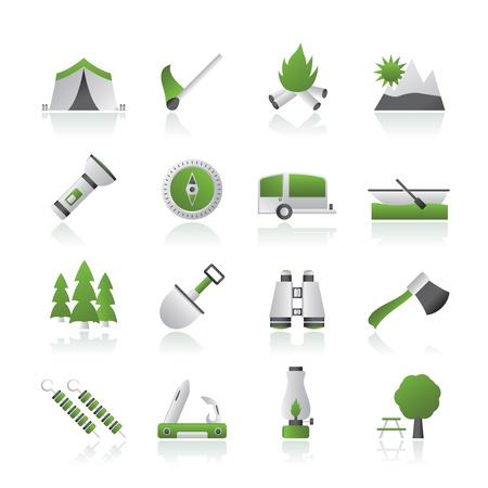 kijker: Camping, reizen en toerisme iconen
