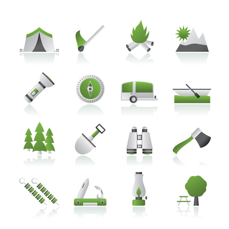Camping, travel and Tourism icons Stock Vector - 15387008