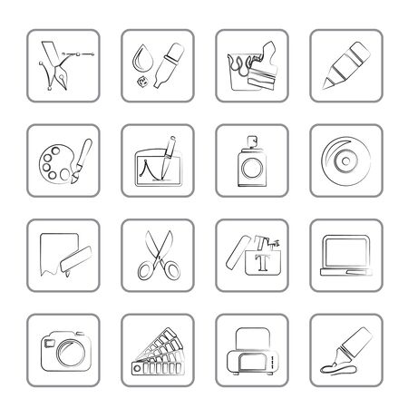 Graphic and web design icons Stock Vector - 15387021