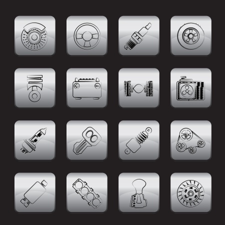 light transmission: Different kind of car parts icons
