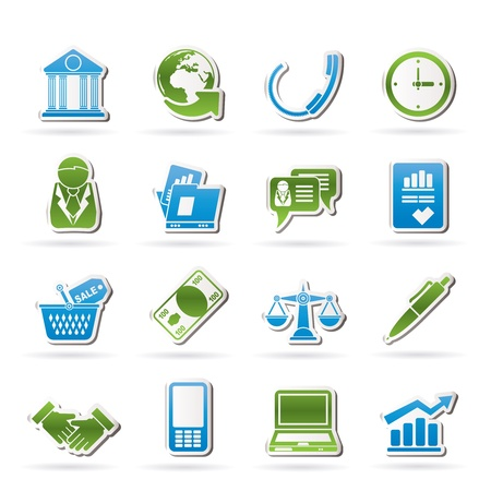 Business and office objects icons Stock Vector - 15387037