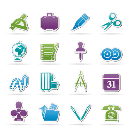 Business and office objects icons Stock Vector - 15555106