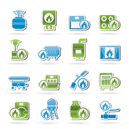 gas fireplace: Household Gas Appliances icons