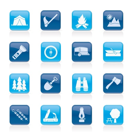 Camping, travel and Tourism icons  Stock Vector - 15689919