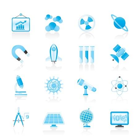radiacion solar: la ciencia, la investigación y la educación iconos Vectores