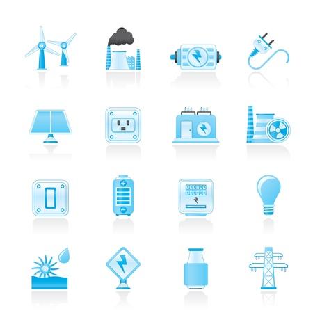 thermal power plant: electricidad, potencia y energ�a iconos - vector set icono Vectores