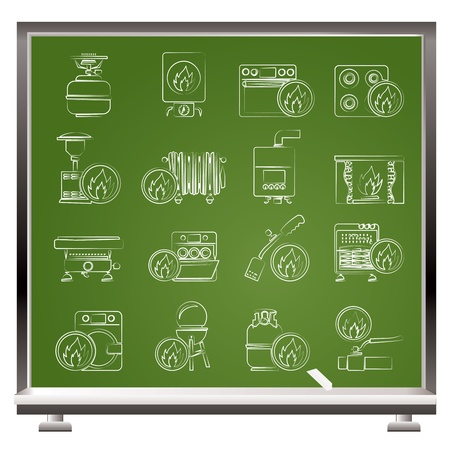 Household Gas Appliances icons - vector icon set Vector