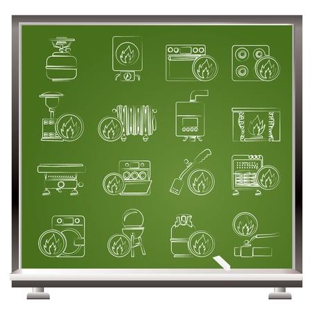 Household Gas Appliances icons - vector icon set Stock Vector - 15952563