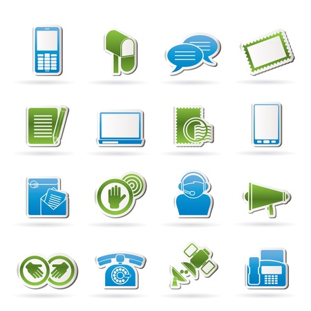 Contact and communication icons - vector icon set Stock Vector - 15952535