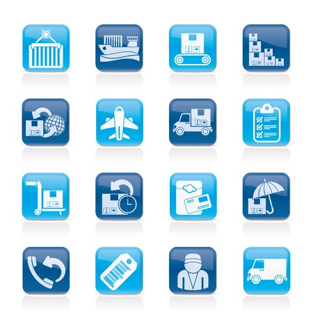 Cargo, shipping and delivery icons Stock Vector - 16099998