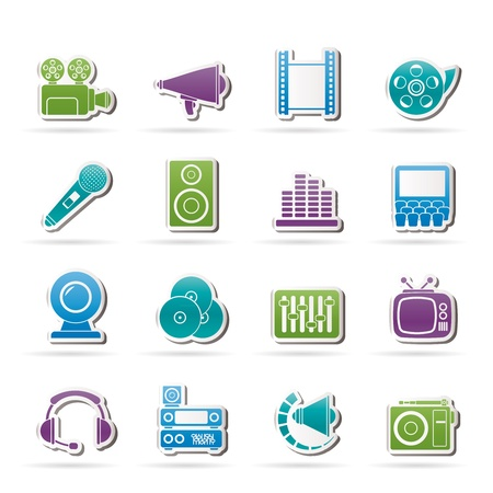 equalization: Audio and video icons - vector icon set Illustration