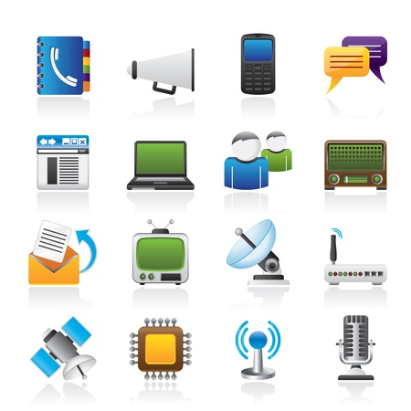 phonebook: Communication, connection  and technology icons -  icon set