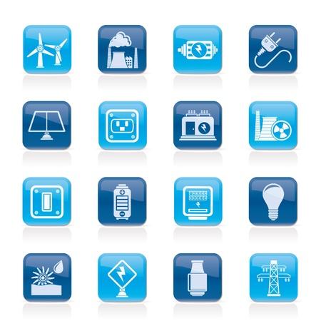 발전기: 전기, 전력 및 에너지 아이콘 - 아이콘 설정 일러스트