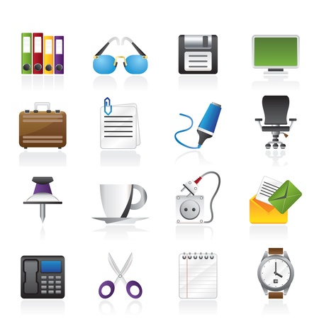 Business and office objects icons - icon set