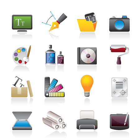 color printer: Graphic and website design icons - icon set