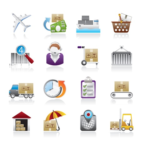 Cargo, logistic and shipping icons - icon set Vector