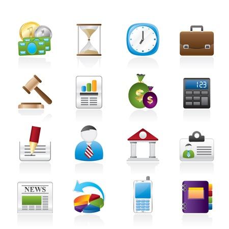 bank manager: Oficina, Negocios y Finanzas Iconos - Vector Icon Set
