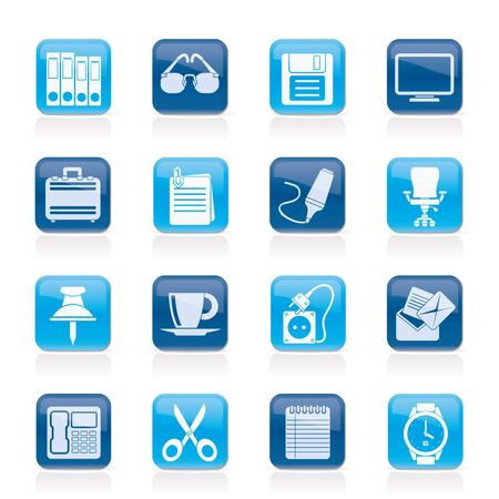 Business and office objects icons - vector icon set Stock Vector - 16587023