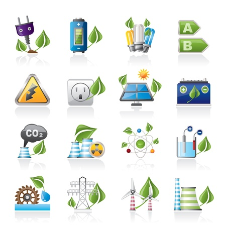 energy buttons: Green energy and environment icons - vector icon set