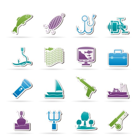 Fishing industry icons - vector icon set Vector
