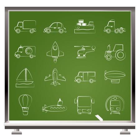 agrimotor: Different kind of transportation icons - vector icon set Illustration
