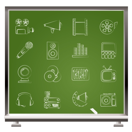 Audio and video icons - vector icon set Çizim