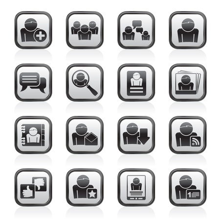 web address: Social Media and Network icons -  icon set Illustration