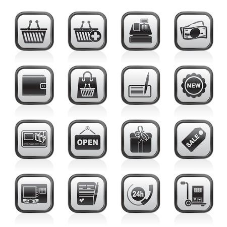 shopping and retail icons -  icon set 일러스트