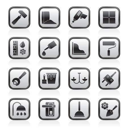 szigetelés: Építőipari és építőipari gépek ikonok - ikon készlet 1