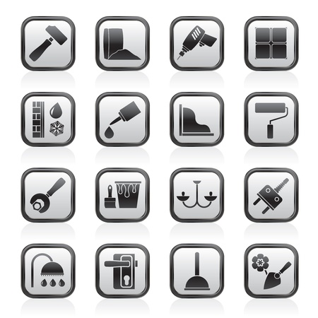 silicone: Construction and building equipment Icons -  icon set 1 Illustration