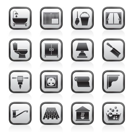 Construction and building equipment Icons -  icon set   Vector