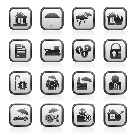 risks button: Insurance and risk icons -  icon set