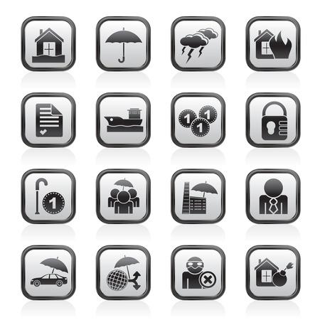 pensioen: Verzekeringen en risico icons - icon set Stock Illustratie