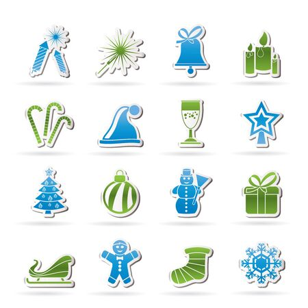 Christmas and new year icons - vector icon set Stock Vector - 16703029