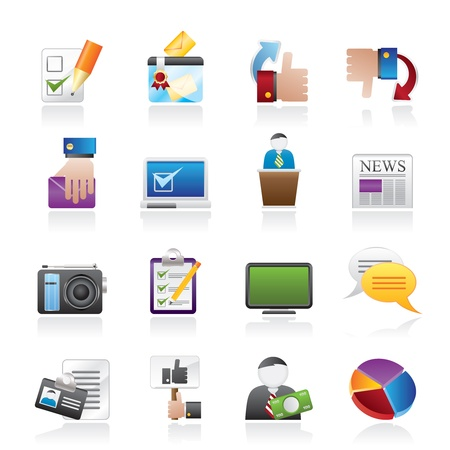 Voting and elections icons - vector icon set Illustration
