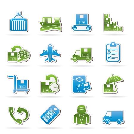 cinta transportadora: Carga, transporte y entrega iconos - vector set icono Vectores