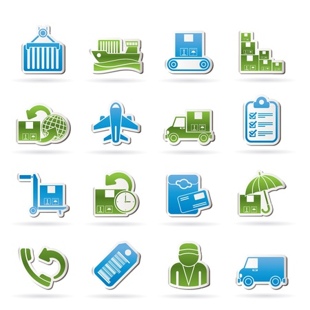 Cargo, shipping and delivery icons - vector icon set Stock Vector - 16703026