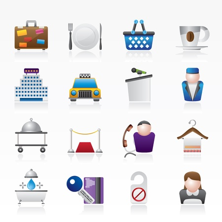 motel: Hotel and motel services icons - vector icon set Illustration
