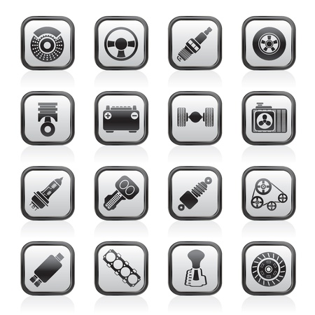 coupling: Different kind of car parts icons - vector icon set